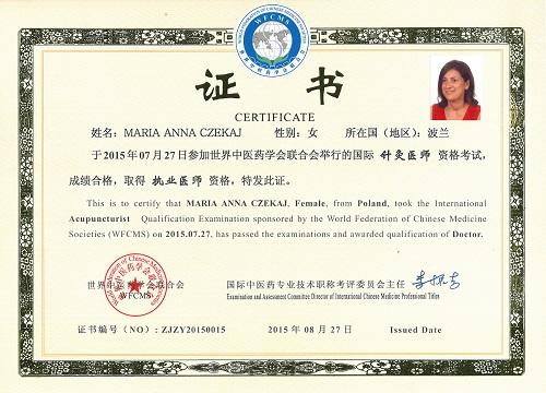 Certyfikat Światowej Federacji Stowarzyszeń Medycyny Chińskiej WFCMS - Międzynarodowy Tytuł Akupunkturzysty