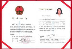 Certyfikat ukończenia Kursu Akupunktury Zaawansowanej w Międzynarodowym Centrum Nauki Akupunktury w Pekinie