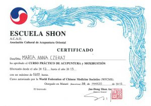 Certyfikat ukończenia praktycznego kursu Akupunktury i Moksybucji w Mataró