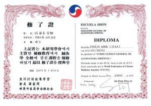 Certyfikat ukończenia Ogólnego Kursu Klinicznego Akupunktury w Mataró