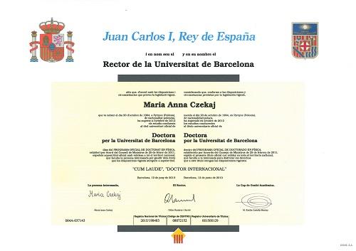 Dyplom ukończenia studiów doktoranckich z astronomii na Uniwersytecie w Barcelonie